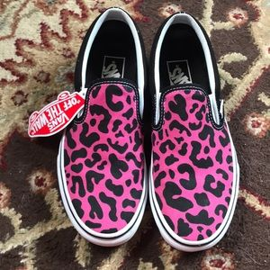 Vans pink cheetah slip on sneakers